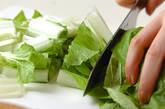 青菜と揚げの煮物の下準備1