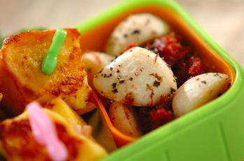 里芋とコンビーフのバジルソテー