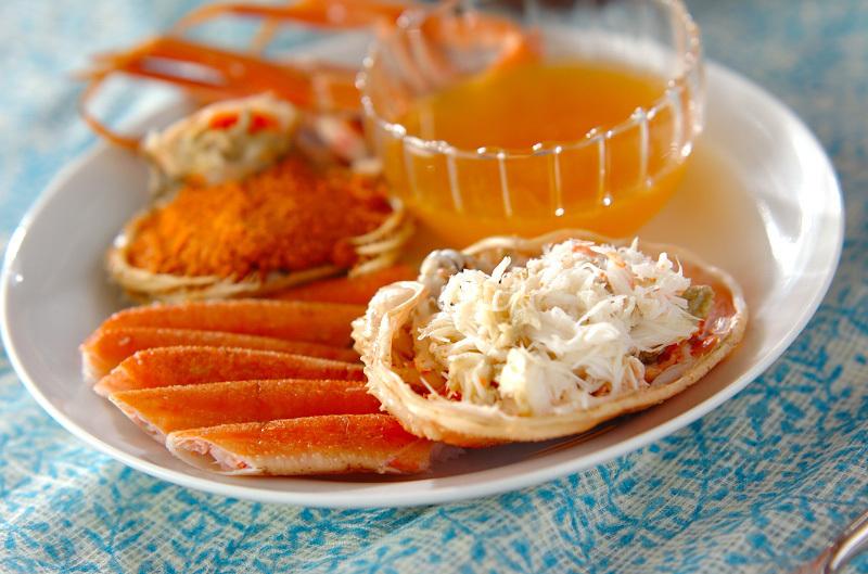 ゆで蟹のオレンジソース添え