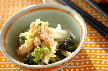 白菜とカニ身のユズ酢和え