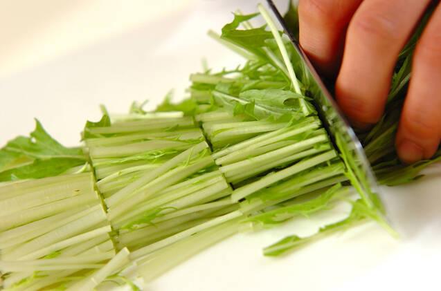 水菜とスプラウトの梅ポンサラダの作り方の手順2