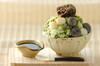 抹茶白玉味の台湾風かき氷の作り方の手順