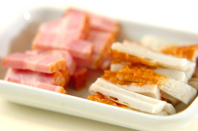 ベーコンとちくわのマヨ炒めの作り方の手順1