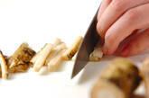 ゴボウのゴマ黒酢和えの下準備1