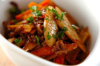 根菜と牛ひき肉の洋風きんぴら