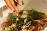 スナップエンドウと豚肉ののり炒めの作り方2