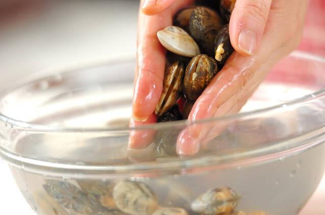 アサリとキャベツの酒蒸しの作り方の手順1
