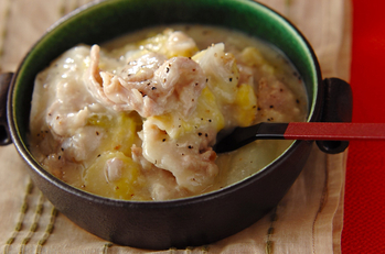 餅の豚肉白菜クリーミー煮