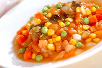 焼き塩サバの野菜ダレ
