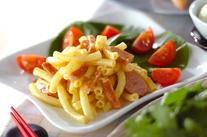 ソーセージのカレーマカロニサラダ