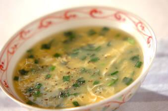 ニラとコーンの中華スープ