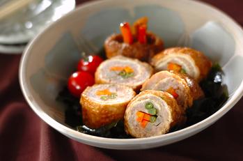 お揚げの鶏ひき肉ロール煮