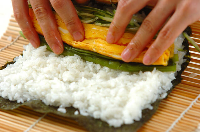 野沢菜の巻き寿司の作り方の手順7