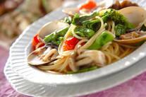 ハマグリと菜の花のスープパスタ