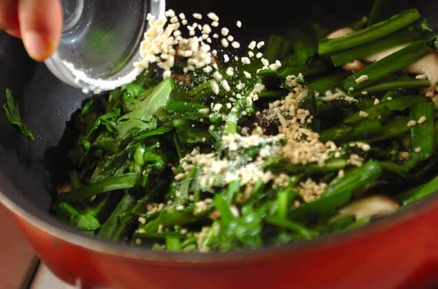 春菊の卵とじの作り方の手順5