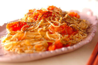 トマトとジャコのパスタ