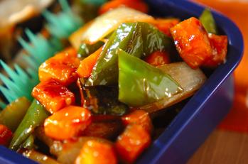 豚肉とカボチャの甘酢炒め