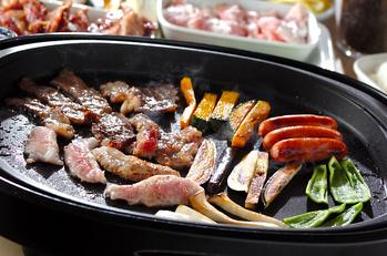 ホットプレート焼き肉の手巻き寿司