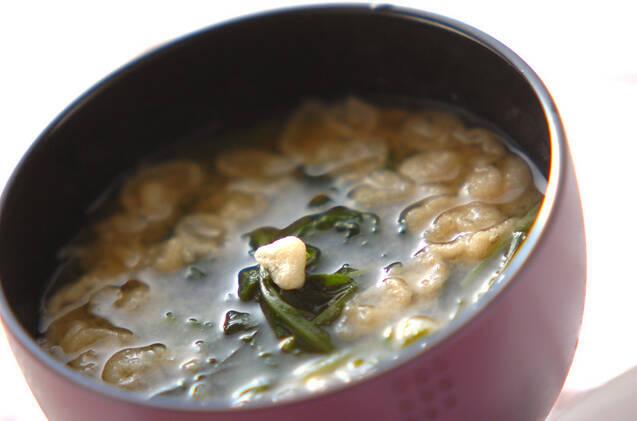 ほうれん草と春菊の味噌汁