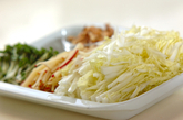 白菜とリンゴのサラダ マスタードドレッシングの下準備1