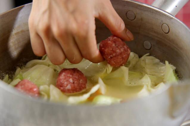 肉団子のたっぷりキャベツ煮の作り方の手順4