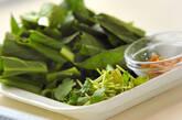 小松菜の甘酢和えの下準備1