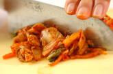 豚肉とキムチのオムレツの下準備2