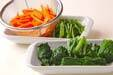 菊菜とセリのゴマ汚しの下準備1