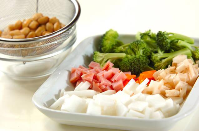 大豆たっぷりスープ煮の作り方の手順1