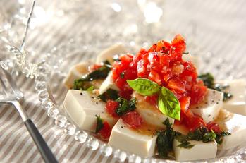 豆腐と塩麹のカプレーゼ