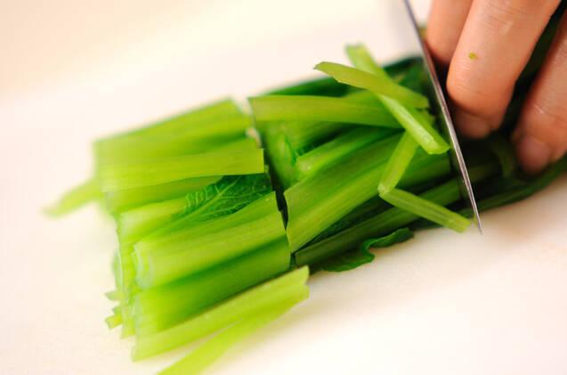 小松菜のナメタケ和えの作り方の手順4