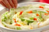 キャベツと白菜の野菜酒粕鍋の下準備1