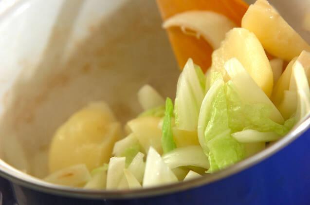 くったり白菜のミルク煮の作り方の手順4