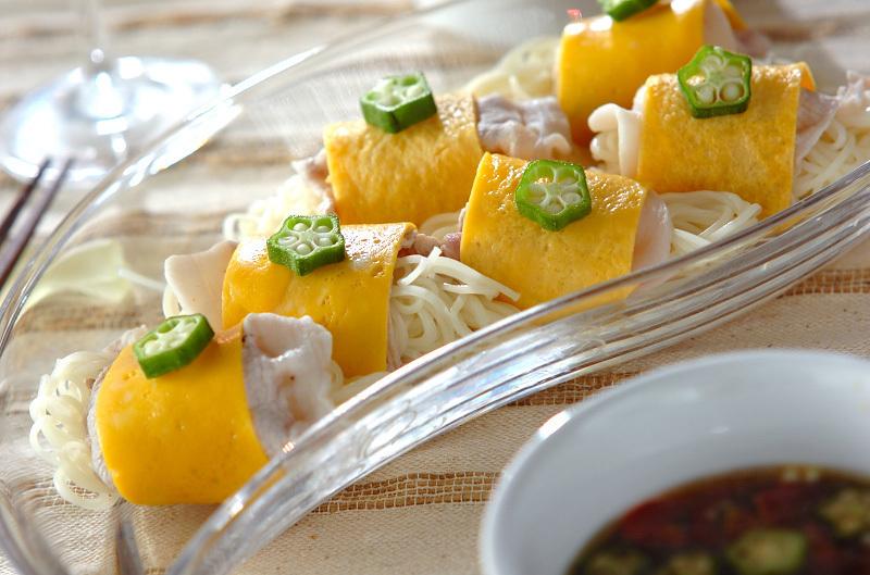 七夕の豚しゃぶ巻きトマトつけ麺