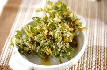 大葉と菊菜のかき揚げ