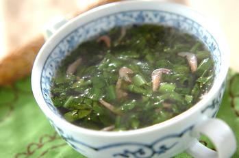 春菊と桜エビのスープ