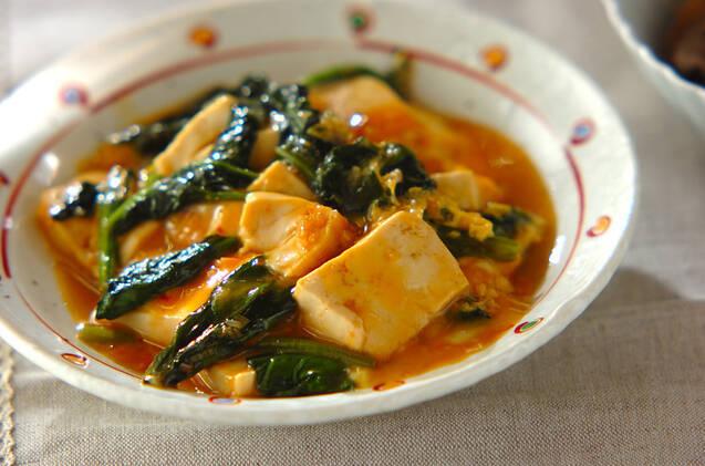 豆腐とほうれん草の卵とじ