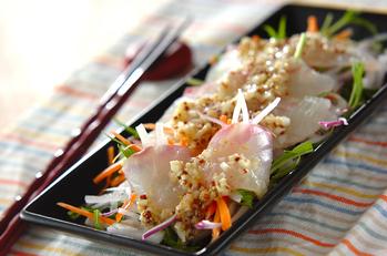 ウドドレッシングのお刺身サラダ