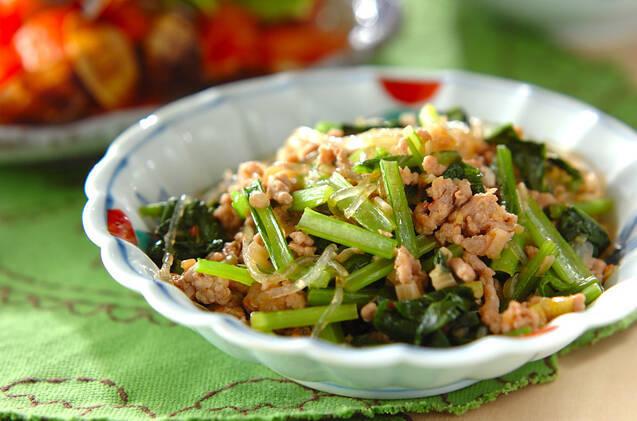 春雨と小松菜を使ったマーボー春雨風の炒め物