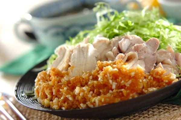 食感を楽しめる♩ゆで鶏のネギソース