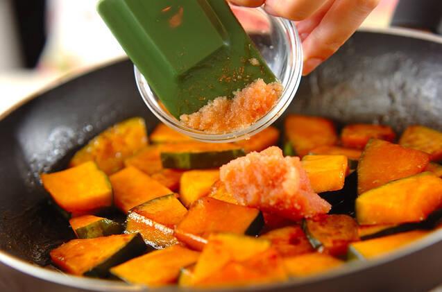 カボチャのタラコバター炒めの作り方の手順3