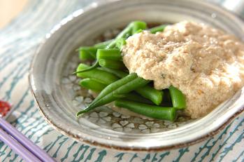 インゲンの豆腐ゴマソース
