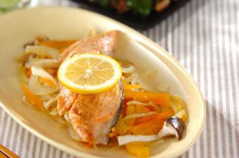 サーモンのレンジ蒸し