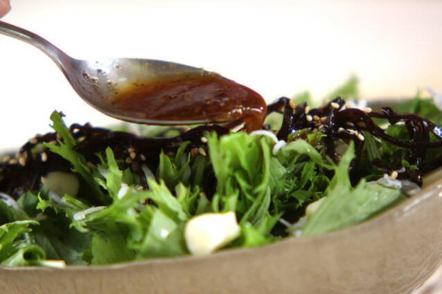 水菜と佃煮昆布の和風サラダの作り方の手順3