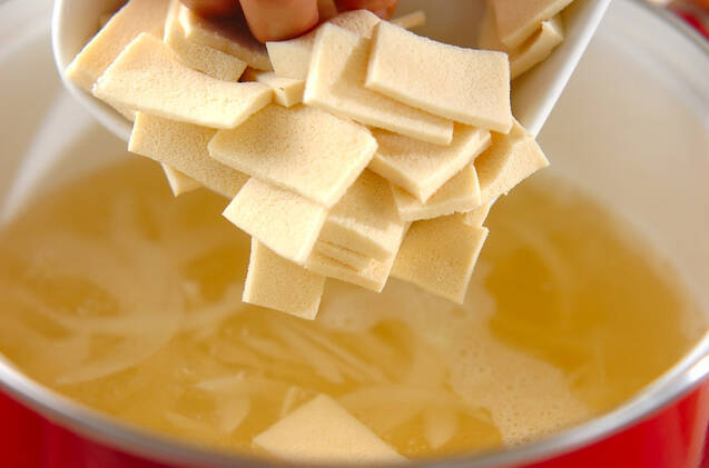 高野豆腐のみそ汁の作り方の手順4