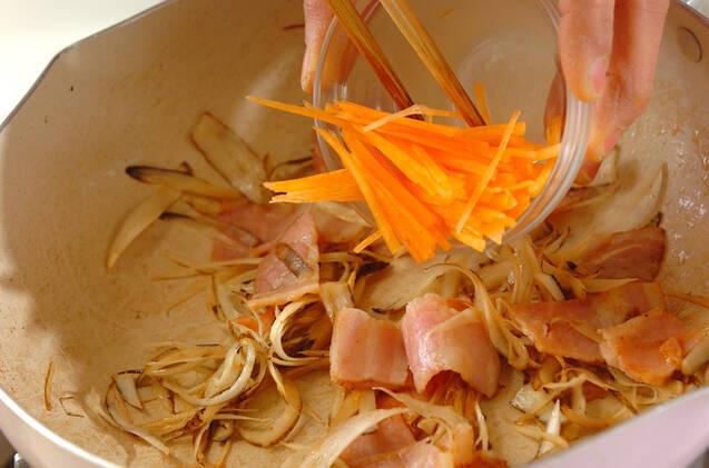 ベーコンとゴボウのきんぴらの作り方の手順4