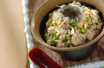 枝豆と豆腐の丼