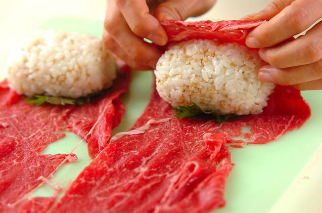 牛肉の大葉巻きにぎりの作り方の手順4