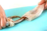 イカのハンペン詰め煮の下準備1