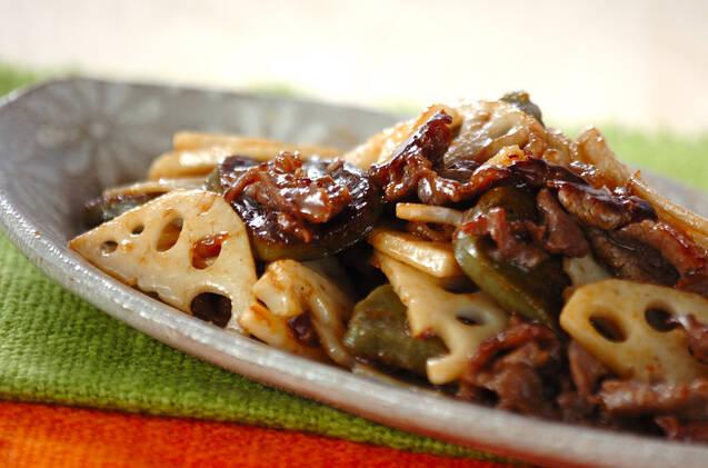 牛肉とレンコンの炒め物